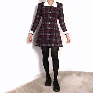 Vintage • 80s Tartan Plaid Collared Mini Dress